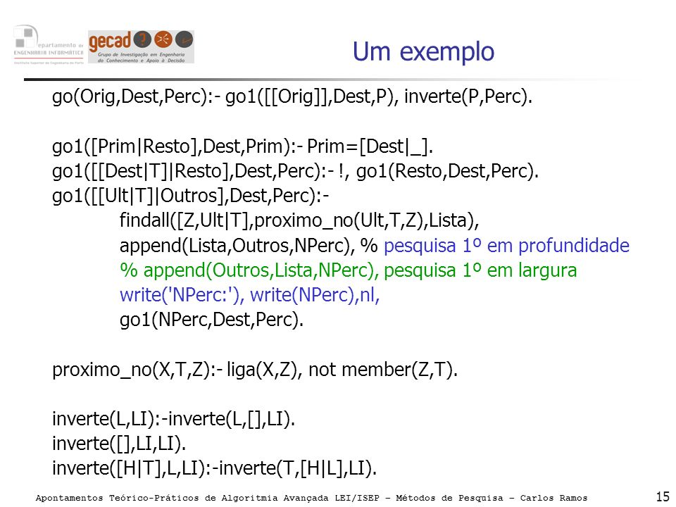 Um exemplo go(Orig,Dest,Perc):- go1([[Orig]],Dest,P), inverte(P,Perc).